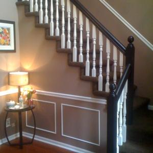 remodeled foyer entrance ~ Rochester Hills, MI home ~ painting, chair rail, base