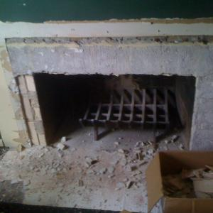 old fireplace dismantled