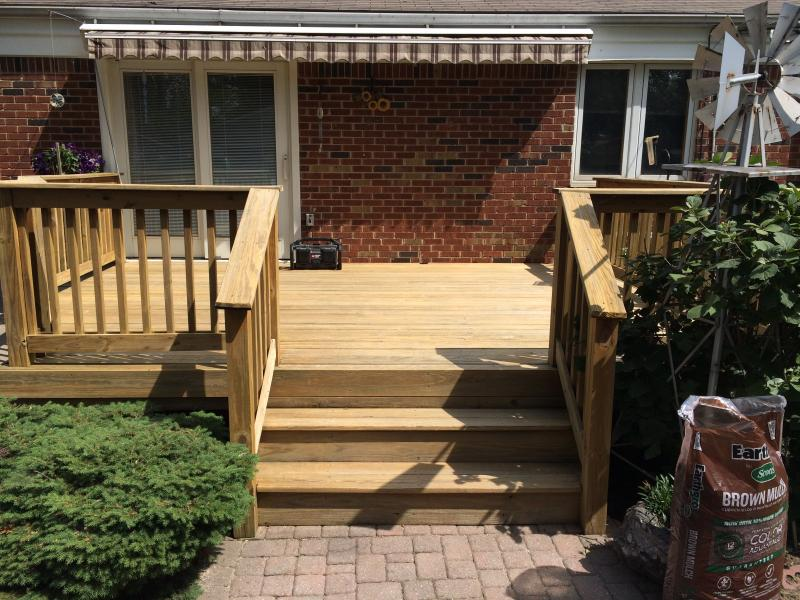 deck powerwashed before staining