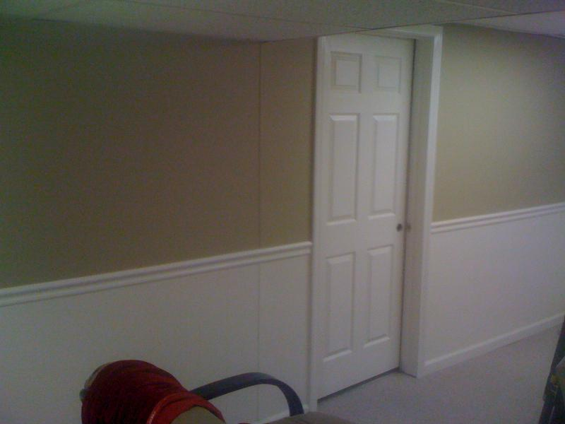 West Bloomfield basement- drywall and wainscoting installed- doors,bifolds
