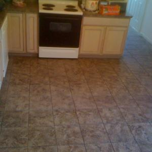 finished kitchen floor tile installation